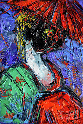 Painting - Miniature Geisha Impasto Palette Knife Oil Painting On Canvas by Mona Edulesco