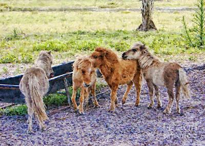 Miniatures Mixed Media - Miniature Horses by Olga Hamilton