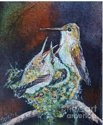 Rufous Hummingbird Painting - Miniature Hummingbirds And Nest by Patricia Pushaw