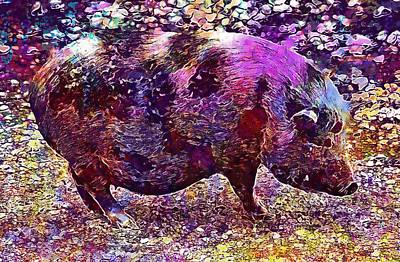 Digital Art - Miniature Pig Pregnant Animal Pig  by PixBreak Art