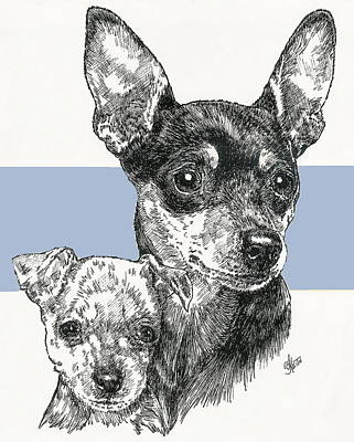 Mixed Media - Miniature Pinscher And Pup by Barbara Keith