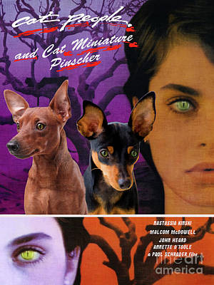 Painting - Miniature Pinscher Art Canvas Print - Cat People Movie Poster by Sandra Sij