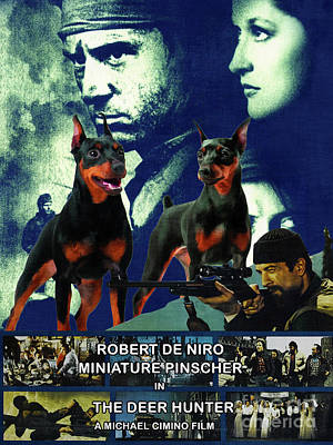 Painting - Miniature Pinscher Art Canvas Print - The Deer Hunter Movie Poster by Sandra Sij