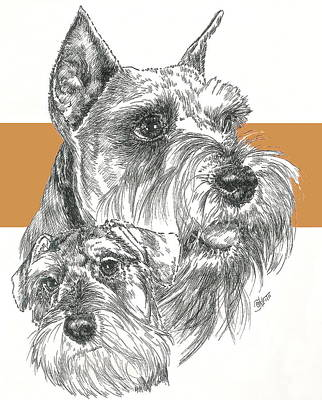 Mixed Media - Miniature Schnauzer And Pup by Barbara Keith