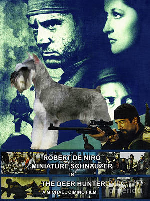 Painting - Miniature Schnauzer Art Canvas Print - The Deer Hunter Movie Poster by Sandra Sij