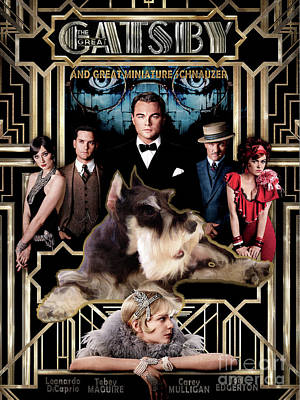 Painting - Miniature Schnauzer Art Canvas Print - The Great Gatsby  Movie Poster by Sandra Sij