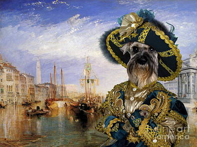 Painting -  Miniature Schnauzer Art - Casanova In Venice by Sandra Sij