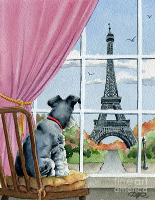 Mini Schnauzer Painting - Miniature Schnauzer In Paris by David Rogers