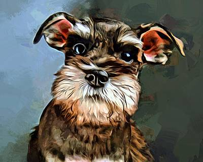 Miniature Schnauzer Puppy Digital Art - Miniature Schnauzer Painting by Scott Wallace