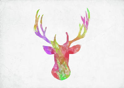 Digital Art - Minimal Abstract Deer Head Watercolor by Ricky Barnard