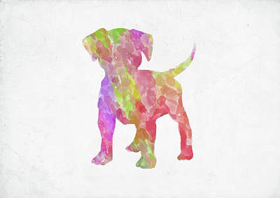 Digital Art - Minimal Abstract Dog Watercolor II by Ricky Barnard