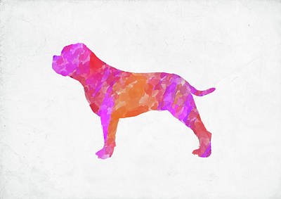 Digital Art - Minimal Abstract Dog Watercolor V by Ricky Barnard