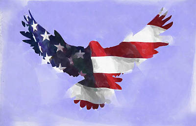 Digital Art - Minimal Abstract Eagle With Flag Watercolor by Ricky Barnard