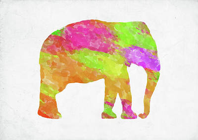 Digital Art - Minimal Abstract Elephant Watercolor by Ricky Barnard