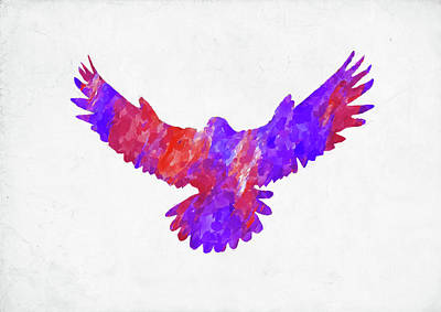 Digital Art - Minimal Abstract Watercolor Eagle by Ricky Barnard