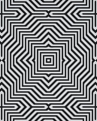 Repeating Digital Art - Minimal Geometrical Optical Illusion Style Pattern In Black White T-shirt  by Philipp Rietz