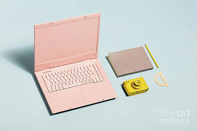 Photograph - Minimal Pastel Workspace Equipment. by Michal Bednarek