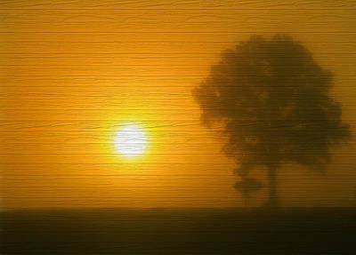 Mixed Media - Minimalism Sunset On Wood by Dan Sproul