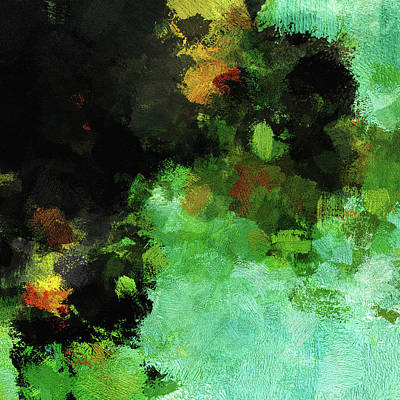 Painting - Minimalist And Abstract Painting In Green Tones by Inspirowl Design