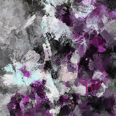 Painting - Minimalist And Modern Abstract Painting In Purple Color by Ayse Deniz