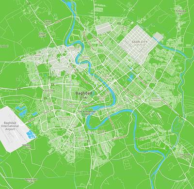 Royalty-Free and Rights-Managed Images - Minimalist Modern Map of Baghdad, Iraq 6 by Celestial Images
