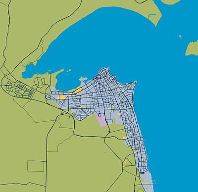 Pineapple - Minimalist Modern Map of kuwait City, Kuwait 5 by Celestial Images