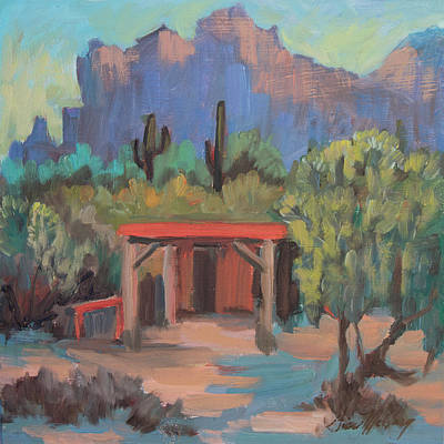 Art Print featuring the painting Mining Camp At Superstition Mountain Museum by Diane McClary