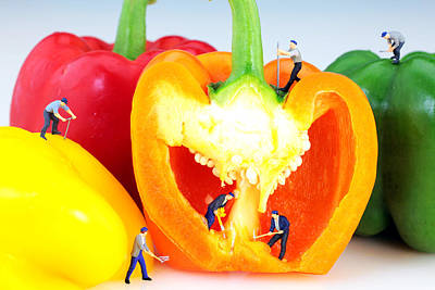 Childhood Digital Art - Mining In Colorful Peppers by Paul Ge