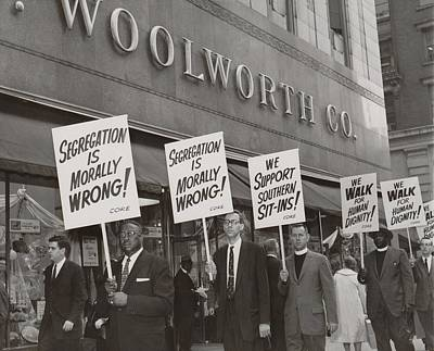 Ministers Picket F.w. Woolworth Store Art Print by Everett