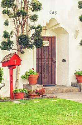 Photograph - Ministry Center Door - Sacred Heart Catholic Church In Coronado California by Claudia Ellis