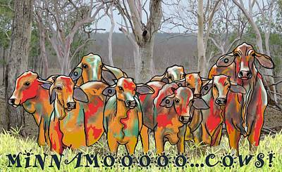 Child Wall Art - Digital Art - Minnamooooo...cows by Joan Stratton