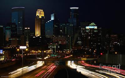 Photograph - Minneapolis After Dark by Susan Herber