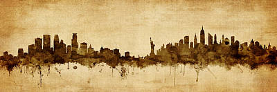 Minneapolis Wall Art - Digital Art - Minneapolis And New York Skyline Mashup by Michael Tompsett