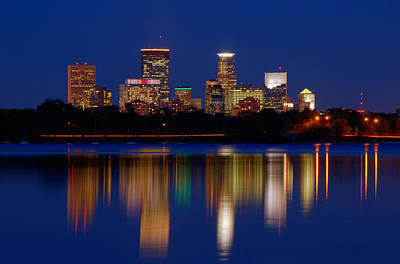 Minneapolis At Night Art Print