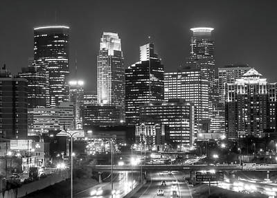 Minneapolis City Skyline At Night Art Print by Jim Hughes
