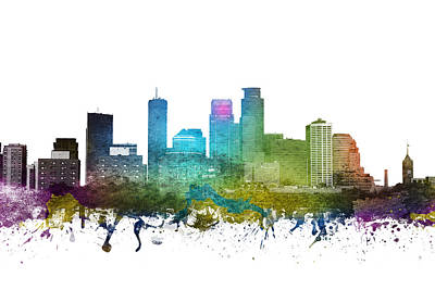 Towns Digital Art - Minneapolis Cityscape 01 by Aged Pixel