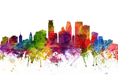 Rainbow Colors Digital Art - Minneapolis Cityscape 06 by Aged Pixel