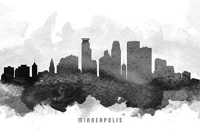 Minneapolis Skyline Painting - Minneapolis Cityscape 11 by Aged Pixel