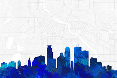 Splatter Digital Art - Minneapolis Cityscape And Streetmap Blue Skyline by Jurq Studio