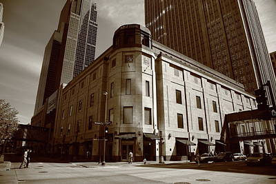 Print featuring the photograph Minneapolis Downtown Sepia by Frank Romeo