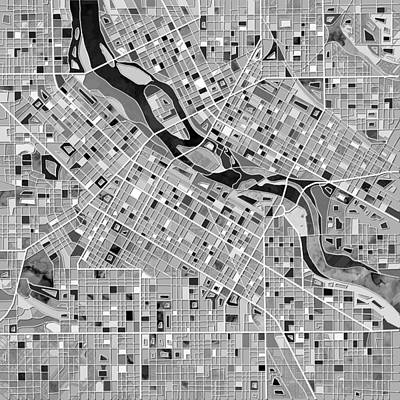 Painting - Minneapolis Map Black And White by Bekim Art