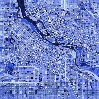 Painting - Minneapolis Map Blue by Bekim Art