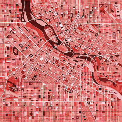 Painting - Minneapolis Map Red by Bekim Art