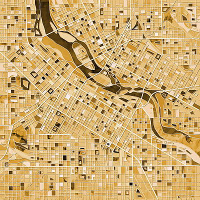 Painting - Minneapolis Map Sepia by Bekim Art