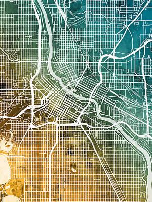Minneapolis Wall Art - Digital Art - Minneapolis Minnesota City Map by Michael Tompsett