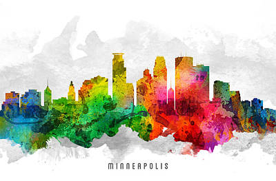 Minnesota Painting - Minneapolis Minnesota Cityscape 12 by Aged Pixel