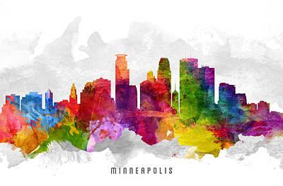 Minneapolis Skyline Painting - Minneapolis Minnesota Cityscape 13 by Aged Pixel