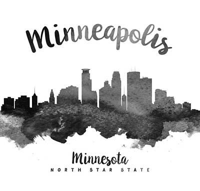 Minneapolis Skyline Painting - Minneapolis Minnesota Skyline 18 by Aged Pixel