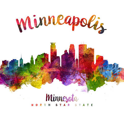 Minneapolis Skyline Painting - Minneapolis Minnesota Skyline 23 by Aged Pixel