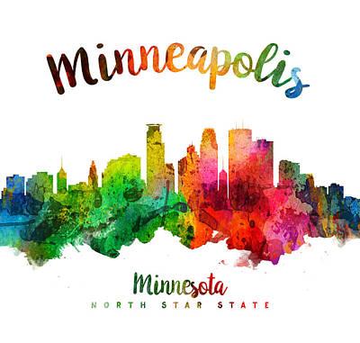 Minneapolis Skyline Painting - Minneapolis Minnesota Skyline 24 by Aged Pixel